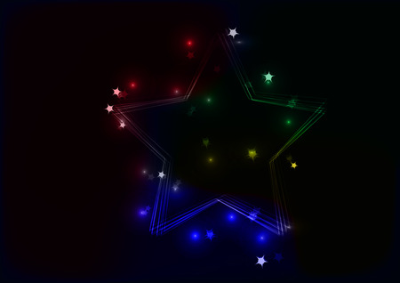 big five: Star from lines with multiple stars around on black background with red, blue, green, yellow color and background