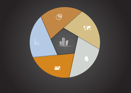 Infographic with hexagon shape consists of six parts and Real Estate motif in the middle with other signs and symbols on dark background with shady centre Vector