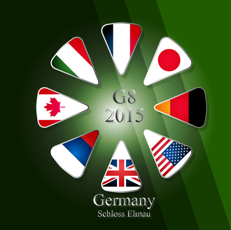Illustration releated to G8 summit in germany in 2015 with eight flags in triangles and with sign and year in the middle and with place of meeting written in the bottom part of picture. Vector