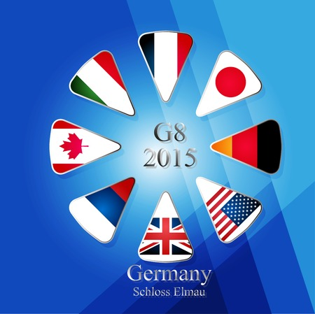 Illustration releated to G8 summit in germany in 2015 with eight flags in triangles and with sign and year in the middle and with place of meeting written in the bottom part of picture on blue background with different shades. Vector