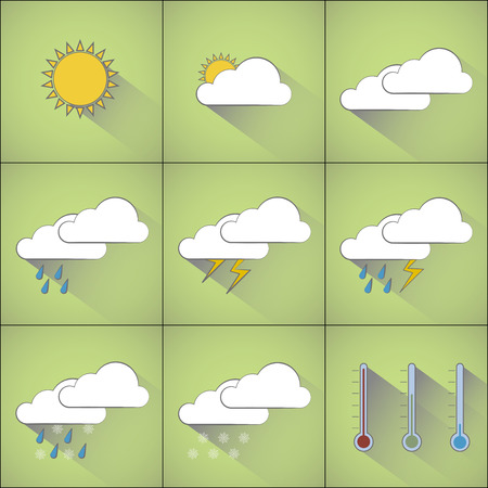 all weather: Infographic with weather forecast motifs icons for different kinds of outdoor climate