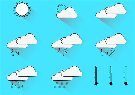 Infographic with weather forecast motifs icons for different kinds of outdoor climate with long shadows placed on light blue background. Pictures are created by black lines with white filling. Vector