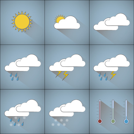 Infographic with weather forecast motifs icons for different kinds of outdoor climate with long shadows placed on blue shaded background. Pictures are created by black lines with white and yellow filling each in separate square. Vector