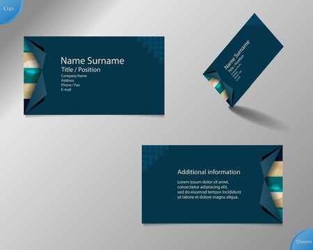 main board: Business card layout with modern dark blue and pallet colors and ornaments made from rings with fold side corners and with important writing on the main board.
