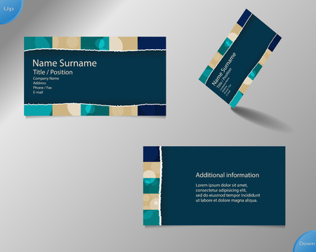 main board: Business card layout with modern dark blue and pallet colors and ornaments made from rings with tear off center part and with important writing on the main board. Illustration