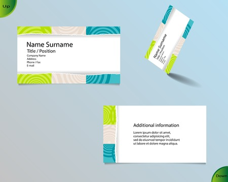 main board: Business card layout with modern white color and pallet of trendy colors and ornaments made from rings with tear off central part and with important writing on the main board.
