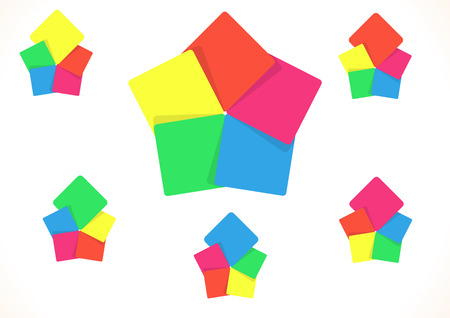 required: Vector illustration of five color paper squares useful for notes or other information with shadows and in shape of pentagon with option of one piece bigger. Illustration