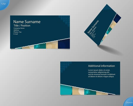 main part: Business card layout with modern dark blue and pallet colors and ornaments made from rings with tear off bottom part and with important writing on the main board.