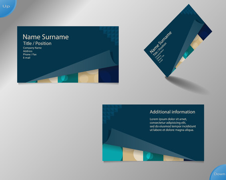 main board: Business card layout with modern dark blue and pallet colors and ornaments made from rings with tear fold bottom part and with important writing on the main board. Illustration