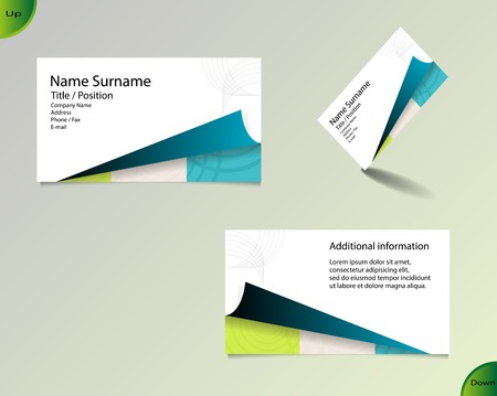 main board: Business card layout with modern white color and pallet of trendy colors and ornaments made from rings with fold on bottom side and with important writing on the main board. Illustration