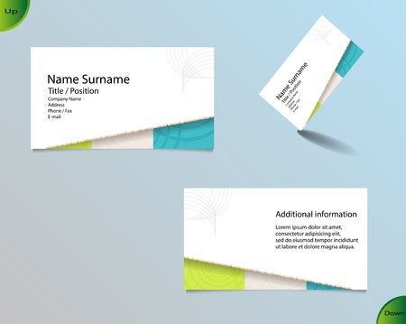 main board: Business card layout with modern white color and pallet of trendy colors and ornaments made from rings with tear off  bottom side and with important writing on the main board.