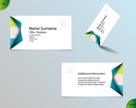main board: Business card layout with modern white color and pallet of trendy colors and ornaments made from rings with fold of two corners on side and with important writing on the main board. Illustration