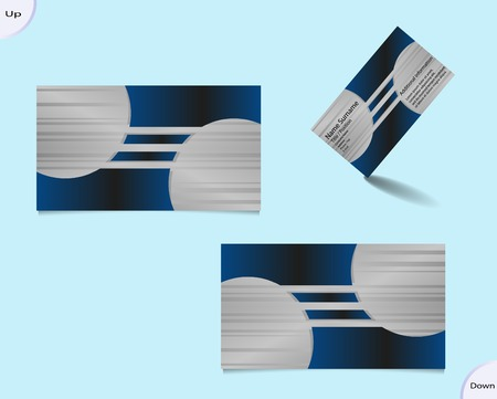 main part: Business card layout with two main colors silver and black with geometric shapes and shadows and with trendy stripes in metallic part of motif.