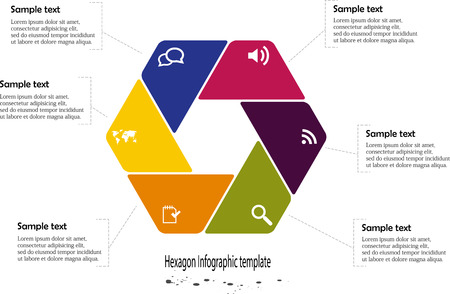 Illustration of hexagon infographic with six parts with different colors and with round corners and with simple signs in each part on white background Vector