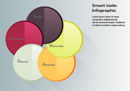 tasks: Illustration with motif of smart tasks infographic consists of five circles with specific steps of method inside with different colors and on light background Illustration