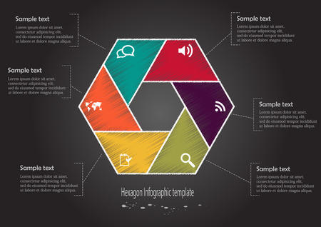 Illustration of hexagon infographic with six parts with different colors draw by scribble style and with simple signs in each part on black background Vector