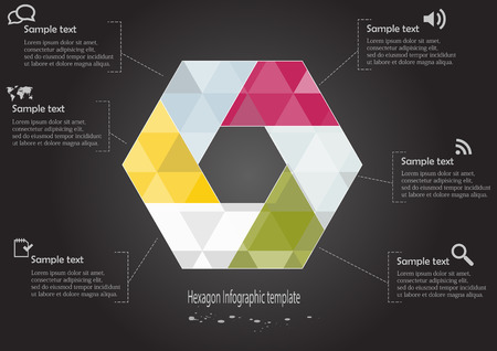 Illustration of hexagon infographic with six parts with different colors covered by semi transparent triangles and with simple signs in each part on black background Vector