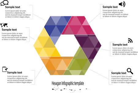 Illustration of hexagon infographic with six parts with different colors covered by semi transparent triangles and with simple signs in each part on white background Vector