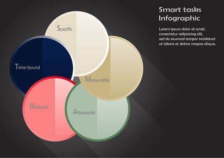 Illustration with motif of smart tasks infographic consists of five circles with specific steps of method inside with different colors and on black background Vector