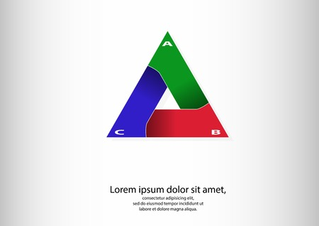 Illustration of infographic of triangle consists of three separate parts with different colors and with shadows in bend Vector