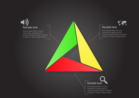 smaller: Illustration infographic with triangle motif consists of smaller ones on black background