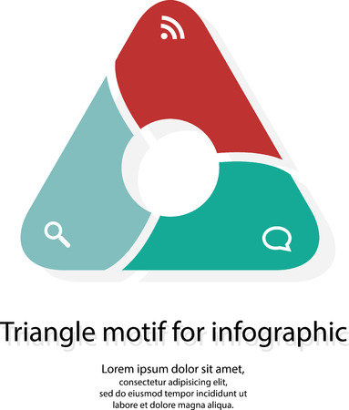 Illustration with infographic motif of divided triangle with rounded corners and circle inside on white background Illustration