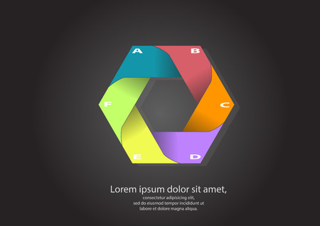 progressive art: illustration of hexagon motif consists of six color parts on black background with space for your own text Illustration