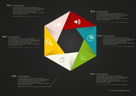 Illustration of hexagon infographic with folded parts and with simple signs in each color parts on black background with space for own text Vector