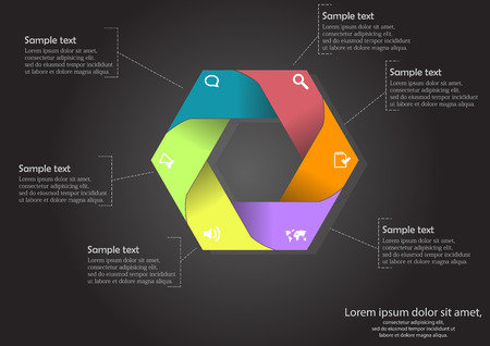 sides: illustration of hexagon infographic with six color parts with simple signs on and with space for own text on sides placed on black background