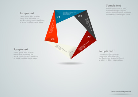 other space: Illustration infographic with motif of pentagon folded from color parts with space for own text and space around for other information.