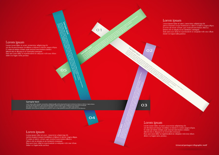 Illustration infographic consists of five long ribbons with different colors, numbers and space for own text placed on red background Vector