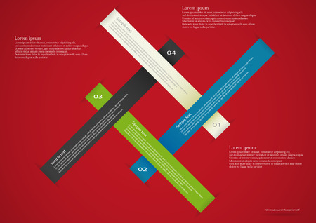 Illustration infographic consists of four color ribbons with long ends placed on red background. Each ribbon has place for own text and number Vector