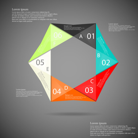 Illustration infographic with hexagonal origami motif consists of six color parts with numbers, letters and space for own text placed on dark background Vector