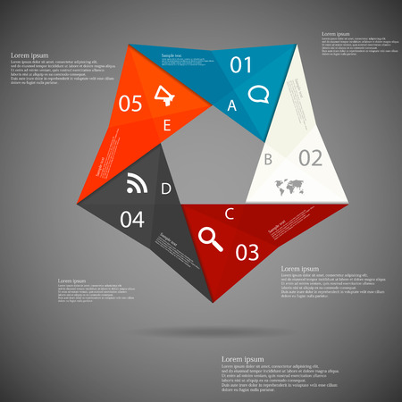 Illustration infographic with origami motif in shape of pentagon consists of five color parts with letters, numbers, signs and space of own text placed on dark background Vector