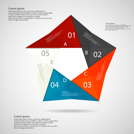 Illustration infographic with origami motif in shape of pentagon consists of five color parts with letters, numbers, signs and space of own text placed on light background Vector