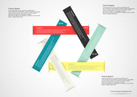 Illustration infographic consists of six long color ribbons in shape of hexagon with space for own text and number placed on light background Vector