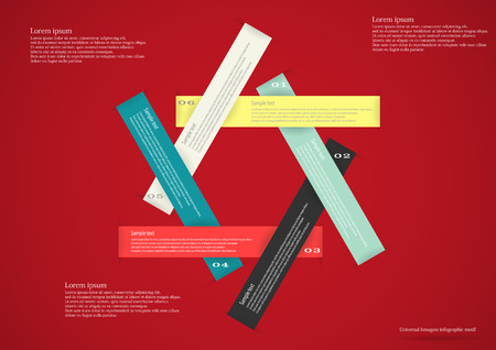 Illustration infographic consists of six long color ribbons in shape of hexagon with space for own text and number placed on red background Vector