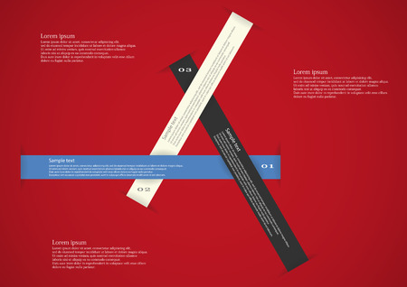 Illustration infographic consists of three long color ribbons in shape of triangle with space for own text and number placed on red background Vector