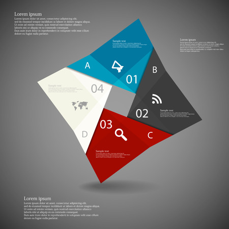 Illustration infographic with square origami motif consists of four folded color parts with space for own text, simple signs and numbers placed on dark background Vector