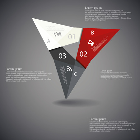 Illustration infographic with triangle origami motif consists of three color folded parts with unique number and letter and with space for own text placed on dark background Vector