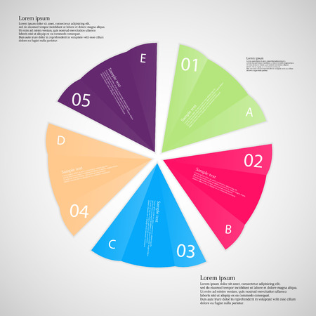 Illustration infographic with five folded paper pieces with different colors, each marked by letter and number placed on light background Vector