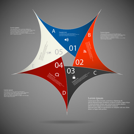 Illustration infographic of pentagon star motif consists of five separate colored parts with individual number and space for own text placed on dark background Vector