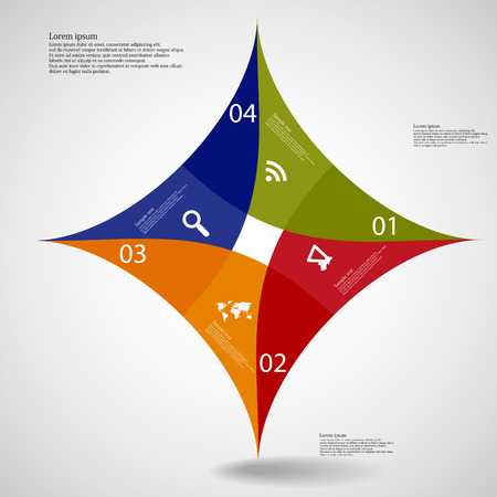 Illustration infographic of square star motif consists of four separate colored parts with individual number and space for own text placed on light background Vector