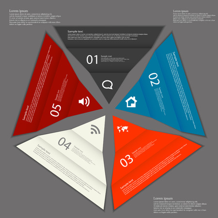 Illustration infographic with five separate folded paper triangle pieces which creates pentagon. Each part is folded and with different color. Each part contain sign, number and letter plus space for own text. Background is dark. Vector