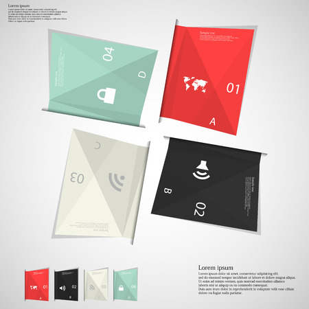 Illustration infographic which contains four folded paper sheets. Each sheet has different color, number, unique letter and space for text. Sheets are once rotated around middle of picture and once aligned in bottom corner. Background is light with next s Vector