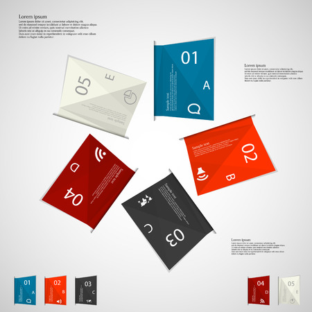 Illustration infographic with motif of five folded paper sheets with different colors, simple sign, space for own text and unique number and letter placed on light background Vector