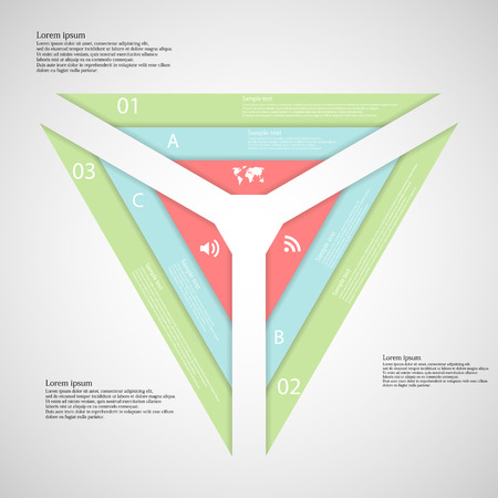 Illustration infographic consists of three parts each with three color ribbons. Each ribbon has space for own text and has unique letter, number or sign. Vector