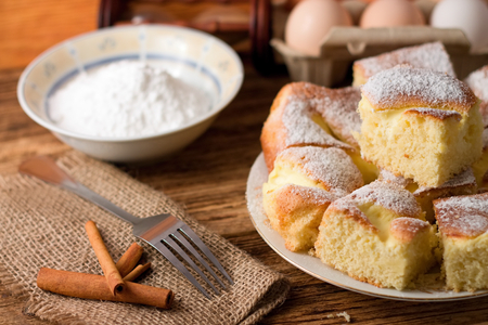 Horizontal photo of Several portions of curd cake on white plate next two fork and cinnamon on jute cloth plus eggs and powder sugar in a bowl in background photo