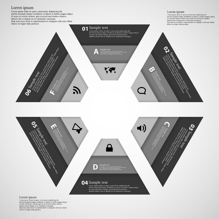 inforgraphic: Illustration inforgraphic consists of six parts in shape of hexagons.