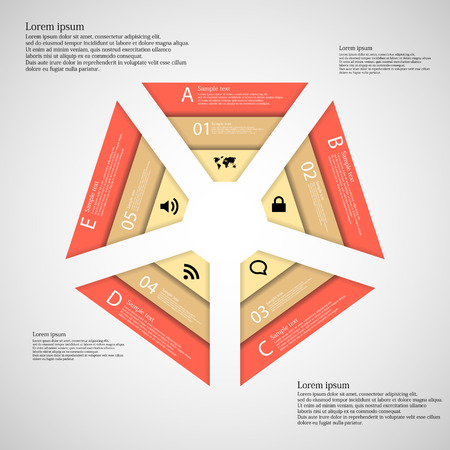 Illustration inforgraphic consists of five parts in shape of pentagon. Vector